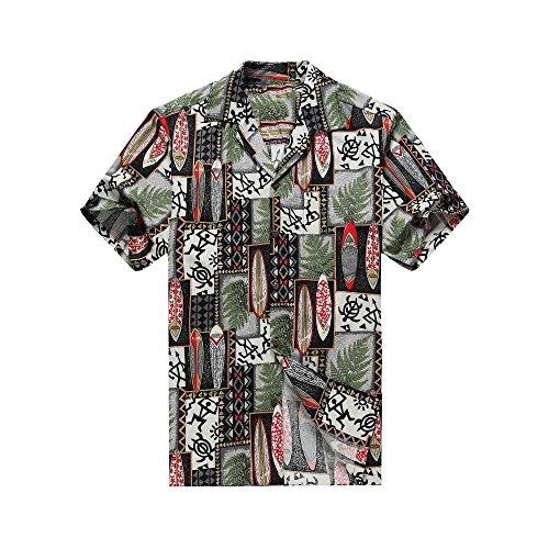 Hawai L Edredón en de Camisa Camisa Tortuga Hecho en Negro hombres Patch la Leaf hawaiana los Surfboards hawaiana de qPxp57