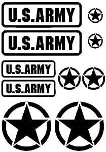 Generisch Us Army Usa Star Aufkleber Set Military Sticker Set Xl Oder M 91 20 Schwarz Matt M Auto