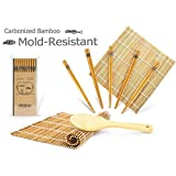 Bamboo Sushi Mat, Beginner Sushi Rolling Mat, Carbonized Sushi Making Kit for Mold-Resistant, Includes 2 Rolling Mats - 5 Pairs Chopsticks - Spreader - Beginner