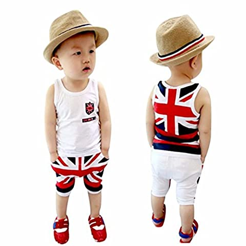 Xinantime Baby Boys Union Jack Outfits Vest Tops Pants Set