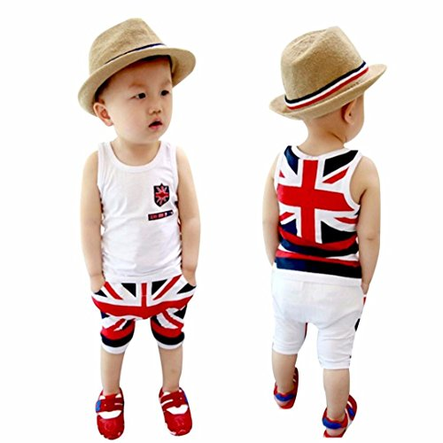 Xinantime Baby Boys Union Jack Outfits Vest Tops Pants Set (5-6Y, White)