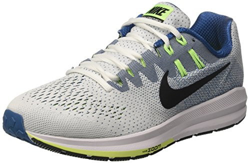 Nike Men's Air Zoom Structure 20 Running Shoes, Off White (White/Black/Industrial Blue/Ghost Green), 8 UK