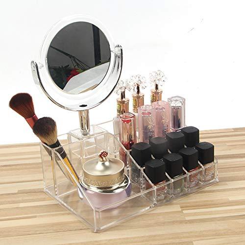 LanLan Transparente Acryl Aufbewahrungsbox Halter mit Spiegel für Lippenstift Schönheit Make-up Pinsel (Spiegel Lippenstift-halter Mit)