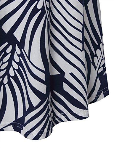 Youtalia Frauen Floral Bedruckt V Ausschnitt Langarm Locker Sitzend Freizeit Tunika Bluse Oberteile Kleid Multicolor Blue