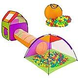 Hengda Spielzelt Spielhaus 3-Teiliges mit Krabbel Tunnel 200 Bälle Bällebad Pop Up Kinderzelt...
