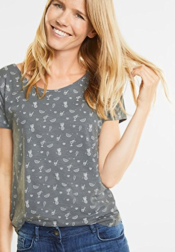 CECIL Damen Shirt mit Sommersymbolen graphit light grey (grau)