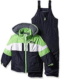 London Fog Big Boys' 2-Piece Colorblock Snow Bib and Jacket Snowsuit, Green 8
