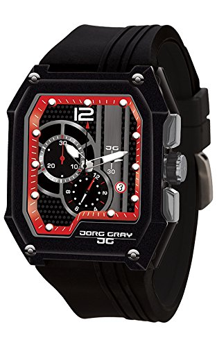Jorg Gray Men's Quartz Watch with Black Dial Chronograph Display and Black Rubber Strap JG7100-23