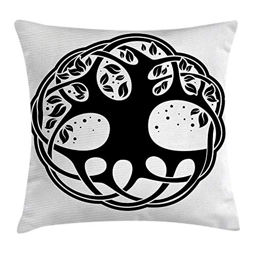 "Alfreen 18""X18"" No Pillow Insert Celtic Dekokissen Kissenbezug for Sofa Couch, Celtic Tree of Life Historic ish Spiritual Nature Branches Root Knots Picture, Black White"
