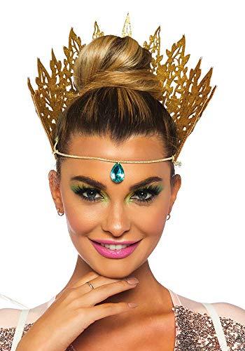 shoperama Goldene Krone mit grünem Schmuckstein von Leg Avenue Königin Damen Kostümzubehör Tiara