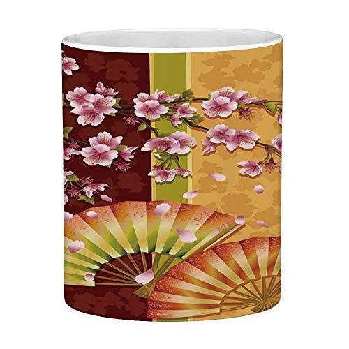 Lustige Kaffeetasse mit Zitat Floral 11 Unzen Lustige Kaffeetasse Sakura Blooms mit japanischen Hand Fan Figuren Authentic Asian Design Ringelblume Baby Pink Burgund - Hand Gedruckt Floral Wrap