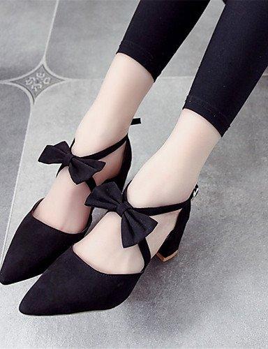 WSS 2016 Chaussures Femme-Soirée & Evénement-Noir / Gris-Gros Talon-Bout Pointu-Talons-Polyester gray-us8 / eu39 / uk6 / cn39
