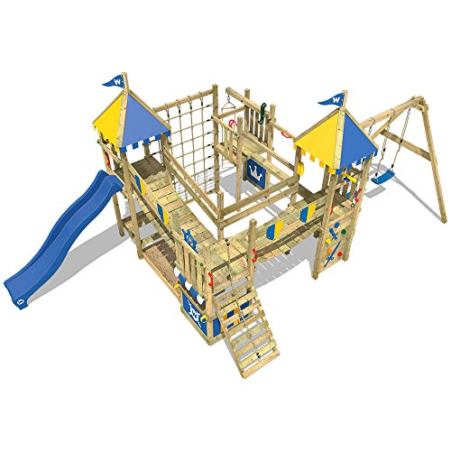 This massive castle-style climbing frame is well-made, safety tested, and offers a variety of play accessories.