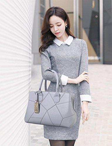 Sunas 2017 nuove donne che fanno cuciture di modo delle borse 3 insiemi delle borse PU bordo morbido del portafoglio della borsa del messaggero della spalla grigio chiaro