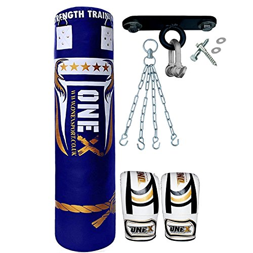 onex-9-pieces-heavy-filled-boxing-set-5ft-punch-bag-gloves-ceiling-hook-chain-mma-punching-training-
