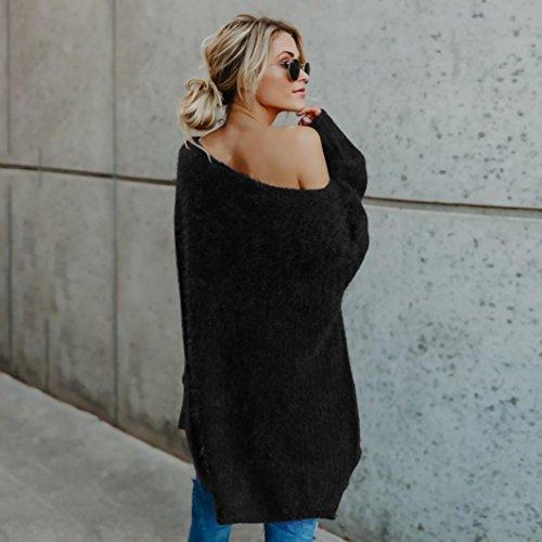 Felpe Maglione Donna Yanhoo Donna casuale solido manica lunga maglione maglie camicetta Nero
