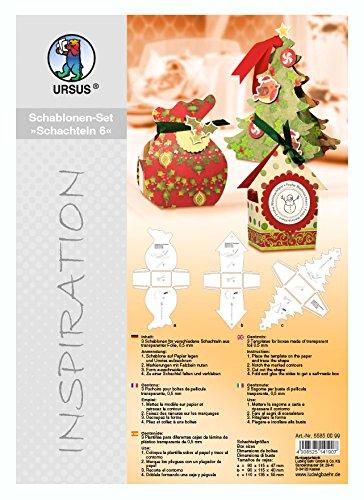 Ursus 55850099 - Inspiration Set 6, 3 Schablonen für weihnachtliche Geschenkschachteln, bunt