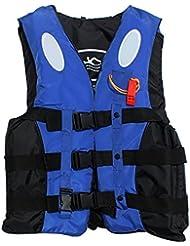 qgstar Niños y Adultos Deportes acuáticos salvavidas PFD Chaleco salvavidas para natación universal Barcos Kayak Chaleco de vida, color Azul - azul, tamaño mediano
