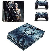 Playstation 4 Pro + 2 Controller Aufkleber Schutzfolien Set - The Witcher /PS4 P