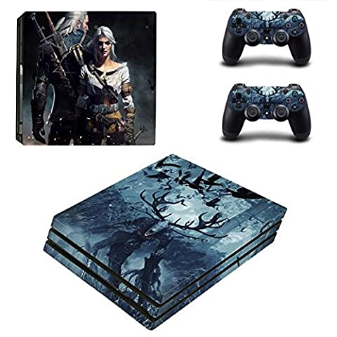 Playstation 4 Pro + 2 Controller Aufkleber Schutzfolien Set - The Witcher /PS4 P