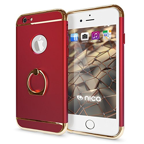 iPhone 6 6S Ring Hülle Handyhülle von NICA, Schutz-Cover mit 360-Grad Fingerhalterung, Dünnes Hard-Case mit Ständer, Slim Backcover Etui matt metallisch für Apple iPhone 6S 6 Smartphone - Silber Rot
