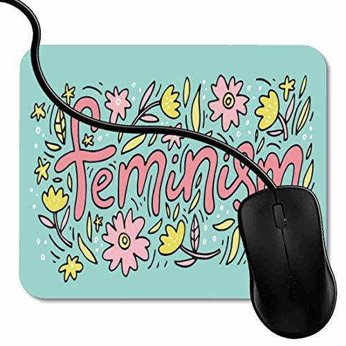 Alfombrilla de Ratón para Gaming de Alfombrilla de Cuadrado Mouse Pad Cita feminista activista hecha en la inscripción de lema motivacional de la mujer Soporte para Ordenador, PC y Portátil 1X1281
