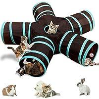 Leichter, zusammenklappbarer 5-Wege-Katzentunnel mit Bommel und Glöckchen, interaktives Pop-Up-Labyrinthhaus-Spielzeug für Katzen, kleine Kaninchen, Kätzchen, Welpen, Frettchen, Meerschweinchen