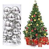 XinXu 48ct Weihnachtskugel-Ornamente bruchsichere Weihnachtsdekorationen Baumkugeln für Urlaub Hochzeit Party Dekoration, Baumschmuck Haken Silber