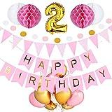 SeHan Geburtstagsdeko für Mädchen und Jungen ab 1 bis 9 Jahre, Rosa (geburtstagsdeko 2 Jahre)