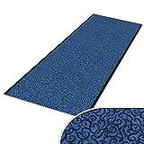 Schmutzfangläufer mit Schnörkelmuster   viele Längen   Qualitätsprodukt aus Deutschland   als Flurläufer, Küchenläufer, Teppichläufer etc.   Läufer in Blau (90 x 300 cm)