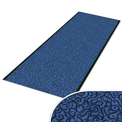 Schmutzfangläufer mit Schnörkelmuster | viele Längen | Qualitätsprodukt aus Deutschland | als Flurläufer, Küchenläufer, Teppichläufer etc. | Läufer in Blau (90 x 150 cm)