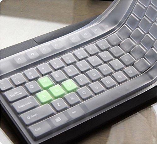 Wokee Tastaturschutz,Hauchdünner Tastatur Schutzfolie Cover Haut, Universal Silikon Desktop Computer Tastaturabdeckung Hautschutzfolie 1 Transparent Tastaturschutz Silikon Tastaturfolie
