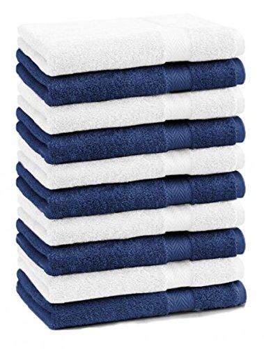 Betz Lot de 10 serviettes débarbouillettes lavettes taille 30x30 cm en 100% coton Premium couleur blanc et bleu foncé