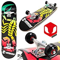 "Venom Scorpion 8"" x 32"" Complete Beginner Skateboard - ABEC7-52mm Wheels - Rasta"