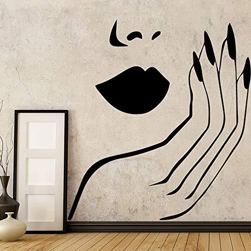 Sexy Wandaufkleber Vinyl Salon Mädchen Gesicht Roten Lippen Wanddekor wallstickers Wohnkultur Wandbild Wohnzimmer Schlafzimmer Wandtattoo a2 58x58 cm - Gesichts-gewebe-marken