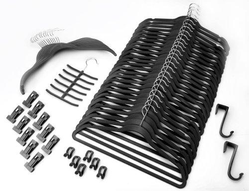 Magic Bügel (Organisations-Set 57 Teile SCHWARZ / Raumspar Magic Kleiderbügel Smart)