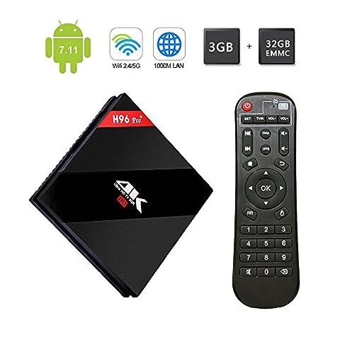 SINUS-CC Android 7.1 TV Boxes 3GB RAM 32GB EMMC ROM H96 Pro plus Amlogic S912 Octa-Core Cortex A53 2.0GHz 64bit CPU 4K Mali-T820MP3 GPU mit SD-Karte Schnittstelle, unterstützt Breitband 1000M und WLAN 802.11 a/b/g/n, WiFi 2.4G