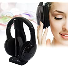 SODIAL(TM) 5-en-1 Hi-Fi Auriculares inalambricos para HDTV, TV, VCD, PC, MP3, MP4, CD, DVD / Radio FM