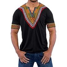 T-Shirt Africain,    Covermason Chemise à Manches Courtes Hommes Africain 91fe2d19c8e