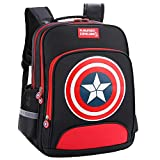 Sacs à Dos Enfant Capitaine Amérique Captain America Kids School Bags Sacs à Dos (Black, Large)