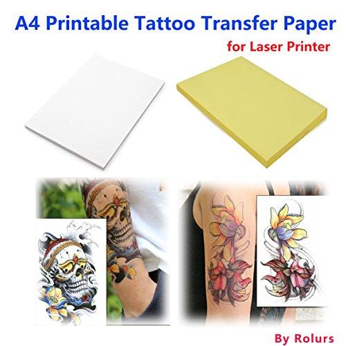 10fogli A4per stampante laser per tatuaggi temporanei trasferibili fai da te