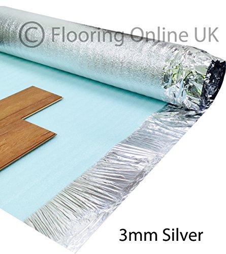 3 mm Trittschalldämmung, silberne Unterlage, für Holz- oder Laminatböden, Rolle mit 15 m²