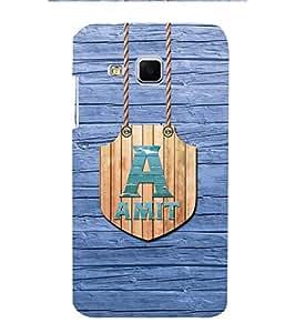 YuBingo Designer Printed Plastic Mobile Back Case Cover Panel for Samsung Galaxy J3 ( Name Surname Amit (Wood Finish Printed on Plastic) )