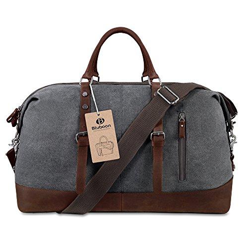 BLUBOON Weekender Vintage Reisetaschen Leder Segeltuch Herren Damen (Dunkelgrau) Grau