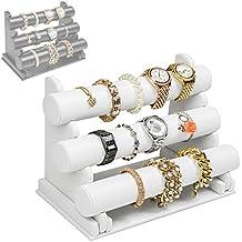 TecTake Expositor exhibidor soporte para joyas organizador reloj brazalete collar - blanco -