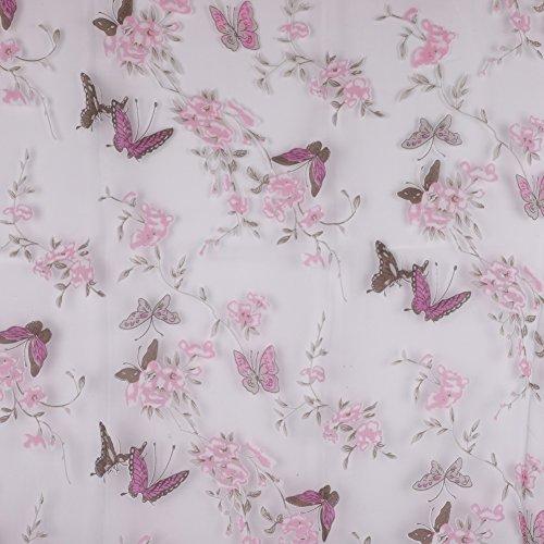 ESHOO 1 Stück Sheer Voile Fenster Vorhang Schmetterling Gedruckt Rod Pocket Top Panels für Schlafzimmer und Wohnzimmer (Schmetterling Stoff Schiere)