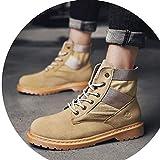 Boots Winter Wolf Herrenschuhe, High-Top-Schuhe, Martin Stiefel, Casual Tooling Stiefel, Outdoor-Schuhe Für Männer, Baumwolle Flut Schuhe,Sandfarbe,42