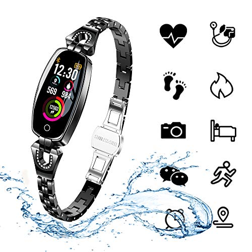 ydkj Fitness Tracker Orologio Braccialetto Fitness Cardiofrequenzimetro Monitoraggio Sonno Pressione Sanguigna Smart Watch Activity Tracker Impermeabile IP67 per Donna (Nero)