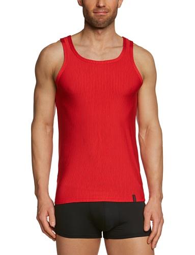 Bruno Banani Herren Unterhemd, gestreift 2204-1063 1103, Gr. 7 (XL), Mehrfarbig (1103 rot/ schwarz Streifen) -