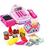 FongFong Kinderregistrierkasse Spielgeld Schöne Kasse Scannerkasse mit Licht und Zubehör Supermarktkasse mit Folientastatur Integriertem Taschenrechner Pretend Play für Kinder Rosa